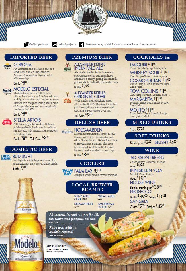 Toronto Boat Cruises | Boat Cruise Toronto | Food Dinner Menu